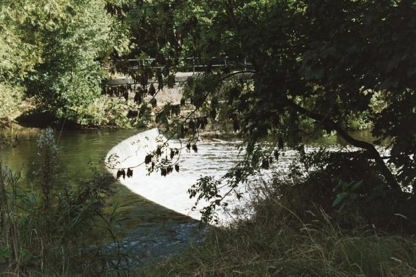 Photograph of Burley Mills weir, taken from the Nature Reserve island