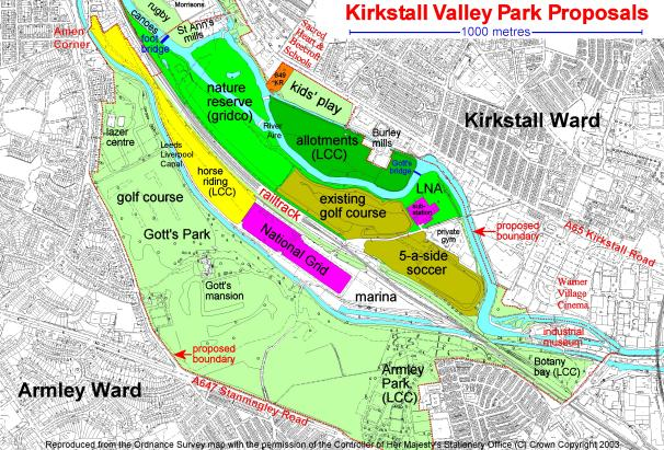 Map showing the Kirkstall Valley Park proposals