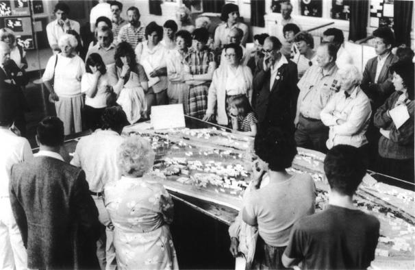 Photograph of the Planning for Real public meeting held in Kirkstall Middle School on 10 and 11 June 1989