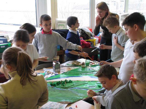 Pupils working on their own model at Raynville School, March 2006